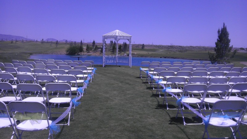 Wedding location set up with chairs and gazebo